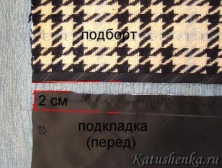 Соединение подкладки с изделием