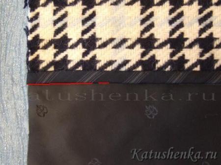 Соединение подкладки с подбортом (пальто)