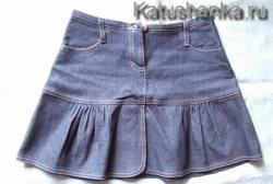 Крой джинсовой юбки с использованием выкройки прямой юбки ...