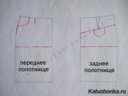 Крой прямой юбки