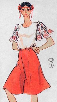 Юбка-брюки и блуза