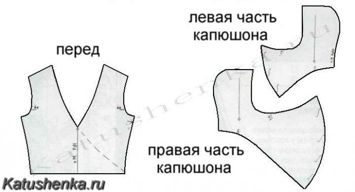 Детали кроя капюшона воротника