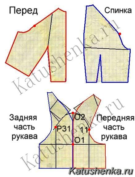 Построение чертежа выкройки-основы с втачными рукавами для женской...